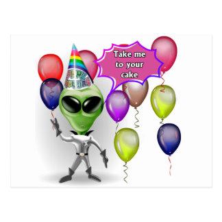 Birthday Alien Postcard