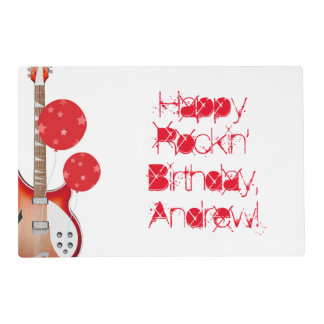 Birthday, Andrew, paper mat, guitar, red, white. Placemat