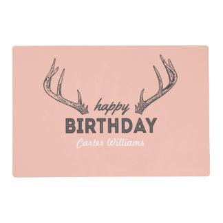 Birthday Antlers Placemat Vintage Retro Deer