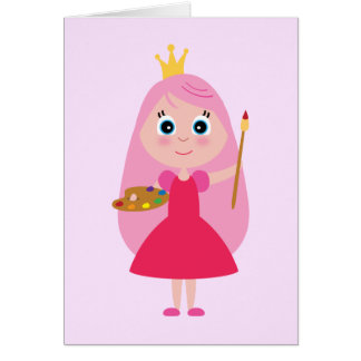 Birthday Artist Princess Greeting Card