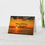 """Birthday As Beautiful As You Are Granddaughter Card<br><div class=""""desc"""">An orange and gold lake sunset with puffy clouds is the subject of my """"Happy Birthday Granddaughter - Hope Your Day Is As Beautiful As You Are!"""" I photographed this scene along the shoreline of beautiful Lake Winnebago in Quinney,  Wisconsin.</div>"""