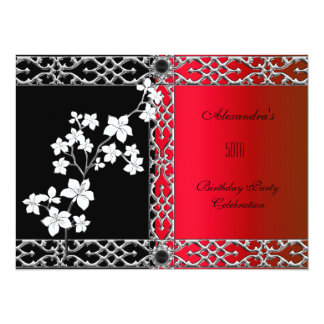 Birthday Asian Red Black Floral Silver White Card