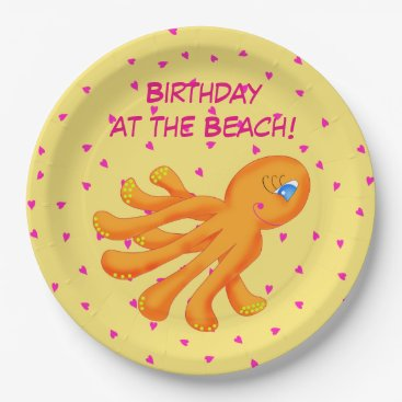Beach Themed Birthday at the Beach Whimsy Octopus Yellow Orange Paper Plate