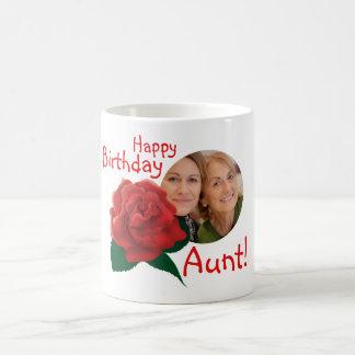Birthday aunt flower custom photo text mug
