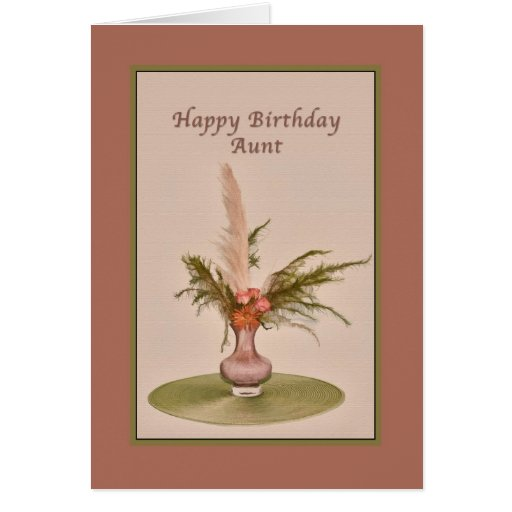 Birthday, Aunt, Vase of Roses and Ferns Greeting Card