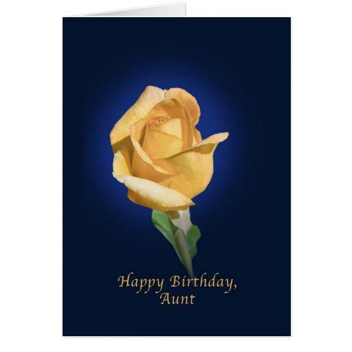 Birthday,  Aunt, Yellow Rose Bud Cards
