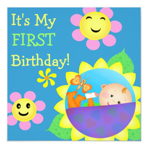"Birthday Baby Custom Invitation 5.25"" Square Invitation Card"