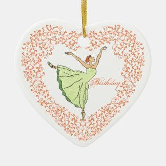Birthday Ballerina Heart Ornament