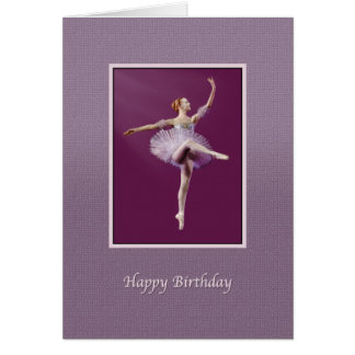 Birthday, Ballerina in Purple and White Card