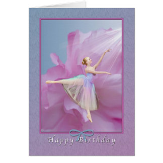 Birthday, Ballerina on Pink and Blue Greeting Card