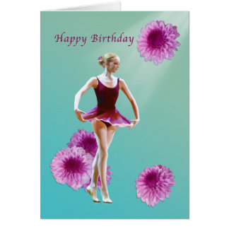 Birthday, Ballerina with Pink Mums Card