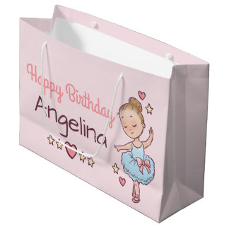 Birthday Ballet Little Ballerina Girl Personalized Large Gift Bag