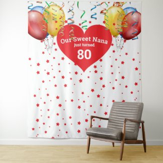Birthday Balloon Backdrop 80th Nana Photo Prop