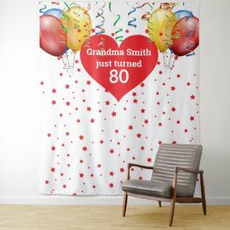 Birthday Balloon Backdrop 80th Photo Prop