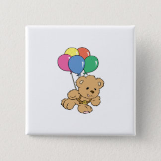 Birthday Balloon Bunch Teddy Bear Pinback Button