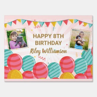 Birthday Balloon Gold Pink Confetti Photos Any Age Sign