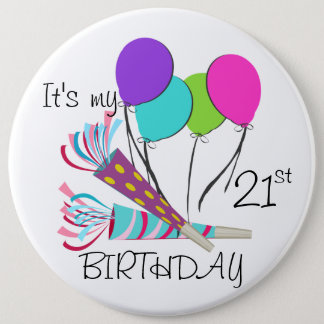 Birthday Balloons and Party Horns Button