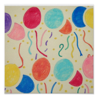 Birthday Balloons And Streamers Print