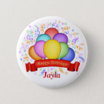 """Birthday Balloons &amp; Banner Button<br><div class=""""desc"""">For your birthday or somebody else's birthday, join in the celebration by wearing this cheerful Birthday Balloons &amp; Banner Button. Birthday Balloons &amp; Banner is an original illustration by Debi Payne Designs. It is a bundle of brightly multi-colored balloons in red, teal, purple, orange, pink, yellow greet and blue. In...</div>"""