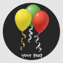 birthday balloons classic round sticker