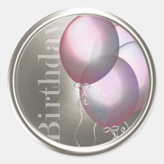 Birthday Balloons Envelope Seal Classic Round Sticker