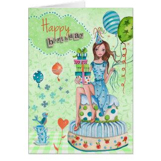 Birthday Balloons Girl Cake | Birthday Card