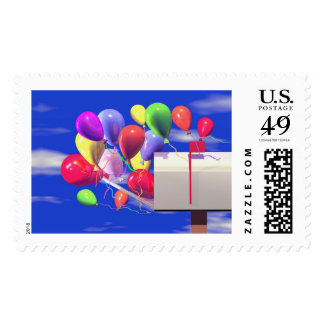 Birthday Balloons in a Mailbox Postage Stamp