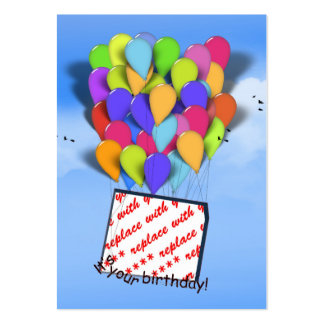 Birthday Balloons In the Sky Photo Frame Large Business Cards (Pack Of 100)