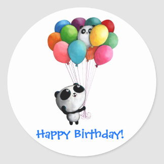 Birthday Balloons Panda Bear Classic Round Sticker