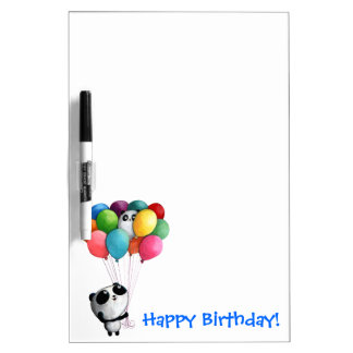 Birthday Balloons Panda Bear Dry-Erase Board