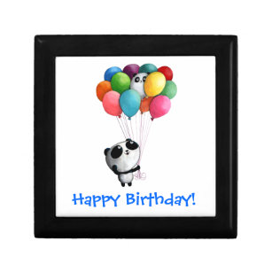 Birthday Balloons Panda Bear Keepsake Box