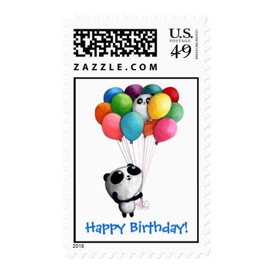 Birthday Balloons Panda Bear Postage