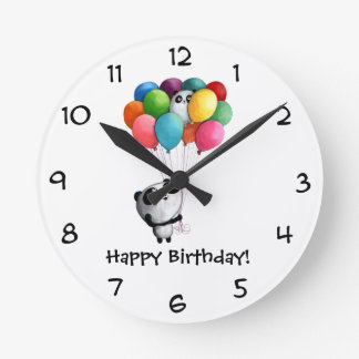 Birthday Balloons Panda Bear Round Clock
