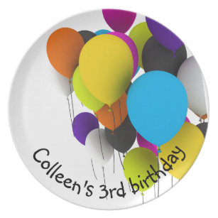 Birthday Balloons Personalized Dinner Plate