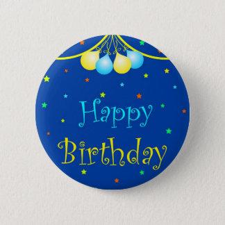 Birthday balloons pinback button