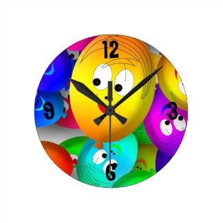 Birthday Balloons Round Clock