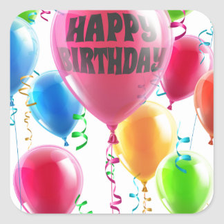 Birthday balloons square sticker