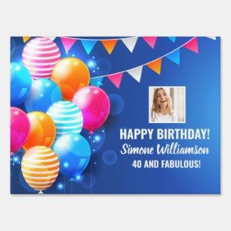 Birthday Balloons Streamers Custom Photo Text Yard Sign
