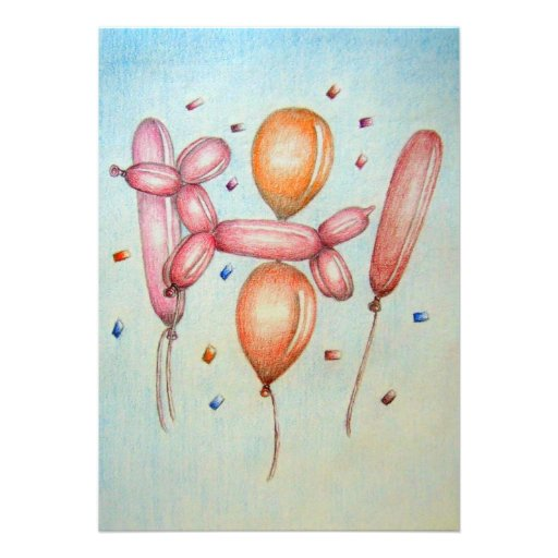 Birthday Balloons with poodle Invitations