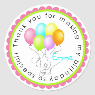 Birthday ballooons- Tropical Colors Classic Round Sticker