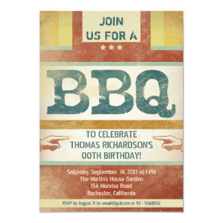 """birthday barbeque party invitations vintage style 5"""" x 7"""" invitation card"""