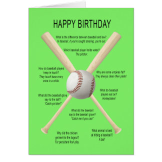 Birthday baseball jokes card