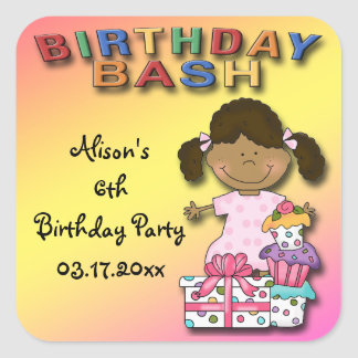 Birthday Bash Birthday Girl Party Favor stickers