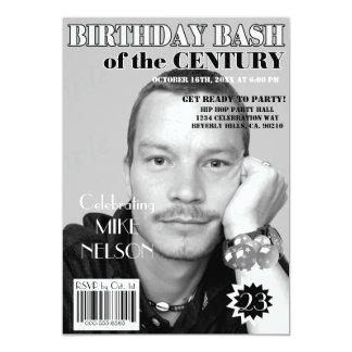 "Birthday Bash Black White Magazine Cover Any Age 5"" X 7"" Invitation Card"