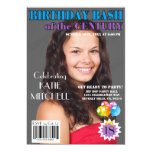 "Birthday Bash Blue Purple Magazine Cover Any Age 5"" X 7"" Invitation Card"