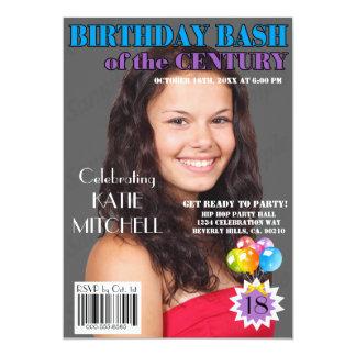 Birthday Bash Blue Purple Magazine Cover Any Age Custom Invites