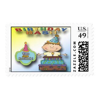 Birthday Bash Boy Party Invitation Postage