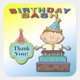 Birthday Bash Boy Thank You envelope seal Square Sticker