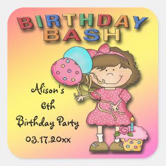 Birthday Bash Girl Birthday Party Favor stickers