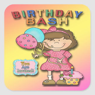Birthday Bash Girl Party Invitation envelope seal Square Sticker